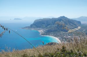 The gulf of Mondello and Monte Pellegrino seen from east to west
