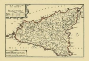 an old map of Sicily dating back to the Bourbon occupation