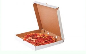 a cardboard pizza box and be asked in any pizzeria to take your leftover home in